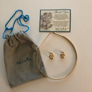 """Omega Necklace  Gold-Plated 6MM/17"""" + GP Earrings"""